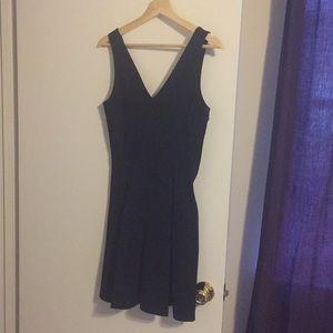 H&M black pleated mini dress